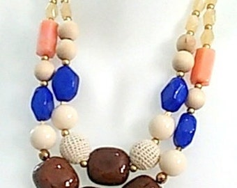 Basia blue cream statement gold necklace new