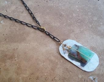 Chrysoprase Dog Tag Necklace