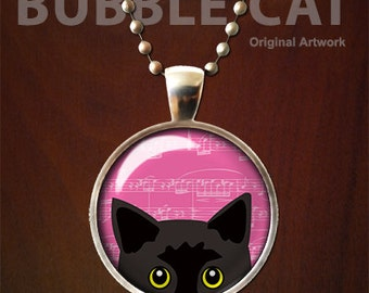 Black Cat Necklace, Pink Background Peeking Cat Pendant, Yellow eyes