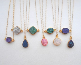 Gold Druzy Necklace - Druzy Pendant, Gold Filled Chain, Gold Necklace, Druzy Necklace, Gem Drop Necklace, Bridesmaid Gift