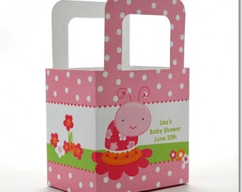 Baby Shower Favor Boxes - Modern Ladybug Pink - Personalized Custom Party Treat Container Gift Bags - Set Of 10