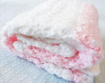 BLANKET SALE Fluffy Crocheted Baby Stroller Blanket Pink White Stripes Handmade 25 x 25 Afghan Distinctly Daisy