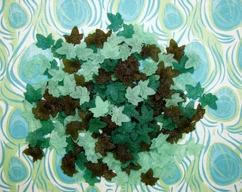 LUCITE ACRYLIC LEAVES-25 Or 45 Beads Per Package-Maple Leaf-Leaves-Greens-Smokey Brown-Opaque-Loose Beads-19mm x 19mm-Free Gift-Each Package