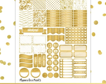 Gold Foil PRINTABLE Planner Stickers | Instant Download | Pdf and Jpg Format