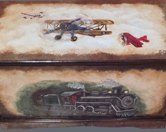 Vintage Train and Airplane Toy Chest Custom Designed, kids room decor, personalized, furniture decor, art and decor