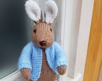 Hand knitted Peter Rabbit style soft toy