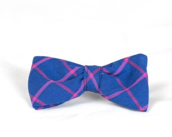 Limited Edition Preppy Blue and Magenta Plaid Dog Bow Tie