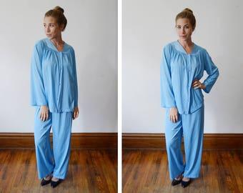 1980s Vanity Fair Blue Pajamas - L