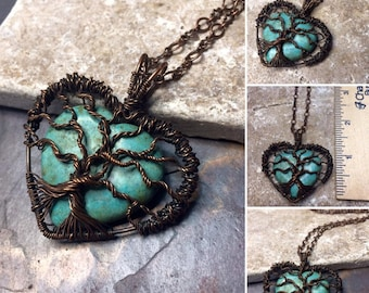 Turquoise Magnesite Heart Gemstone Tree of Life Copper Wire Wrapped Necklace, Gift, Inspirational, Free USA Shipping,Valentine Gift