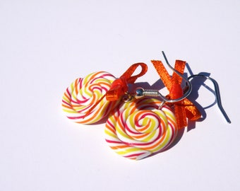 Lovely perfume Aspe - polymer clay jewelry - polymer clay greed earrings
