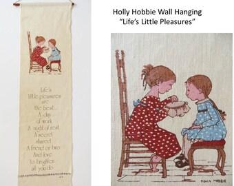 Vintage Holly Hobbie Wall Hanging, Life's Little Pleasures, Screenprint Linen Towel, Retro 70s 80s Decor, Signed AGC,  Unused Mint Condition