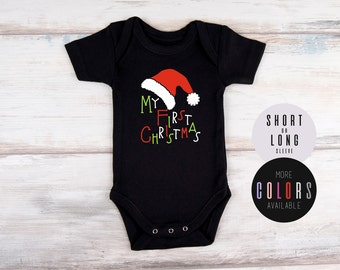 MY FIRST CHRISTMAS Baby Outfit, Christmas Hat Bodysuit, Christmas Newborn Outfit, Christmas Baby Photo Prop, Photo Shoot, Gender Neutral