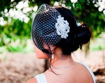 bridal Birdcage veil with rhinestone comb- Oriane