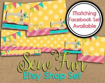 Etsy Banner Set - Etsy Cover Photo - Sewing Etsy Shop Graphics - Etsy Shop Banner - Sewn Banner - Sewing Etsy Banner - Sewing Cover Image