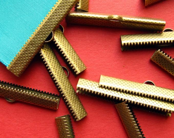10 pieces  40mm or 1 9/16 inch Antique Bronze Ribbon Clamp End Crimps