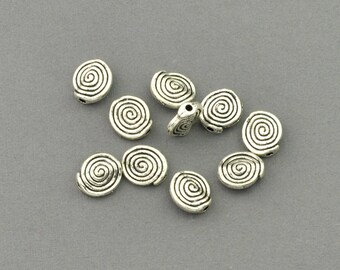Antique Silver Tone Swirl_2 Charm (AS00-0113)