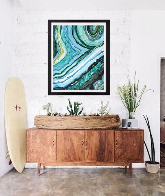 11x14 Large Paper Print Agate Slice Caribbean Agate Tropical Wall Decor by Lauren Tannehill Art