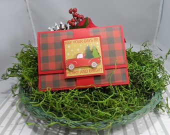 Buffalo Plaid Christmas Gift Card Holder -- Christmas Money Holder --Christmas Card -- Christmas Money Holder