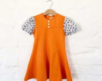 Vintage 60's Orange Dress French Stock 3-4 Y