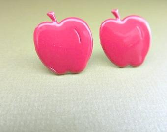 Red Apple Stud Earrings, teacher stud earrings, Poisened Apple earrings