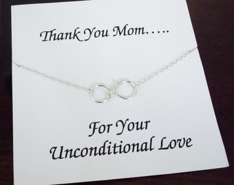 Love Infinity Charm Sterling Silver Bracelet ~~Personalized Jewelry Card for Mom, Mother in Law, Step Mother, Bridal Party, Thank You Mom