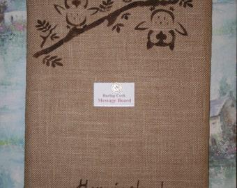 Owls Corkboard, Burlap Covered Cork Board, Message Board, Bulletin Board, Tack Board, Burlap Memo Board, Burlap Decor, Owl Decor, Push Pin