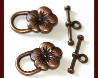 30 sets of Antiqued Copper flower clasps 22X14mm