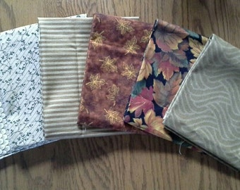 Six Different Quilting Fat~Quarters of Fabric--Greens, Golds & Browns