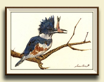 PRINT-Belted kingfisher bird watercolor print kingfisher art wall bird lover print artwork decor - bird nursery -  Art Print by Juan Bosco