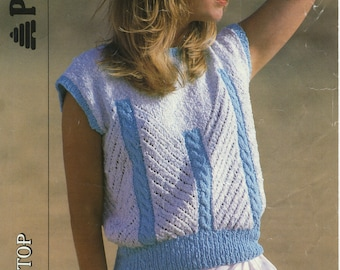 Women's Cable Pattern Knitting Pattern Book 8719 (Cable and eyelet pattern top); Good; USED