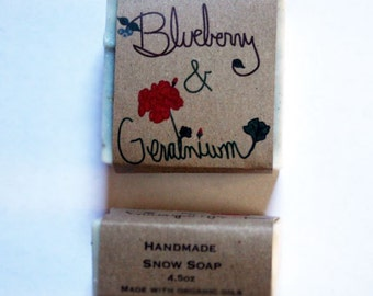 maine gifts / blueberry soap / rose geranium scented / maine christmas gift / small maine gift / wild maine blueberry gift  maine made gift
