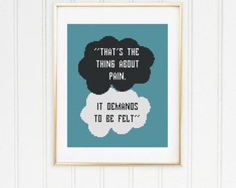 Fault in our stars  stitch pattern modern hazel grace cross your side and mine maybe our okay john green quotes daughter gift #12-005