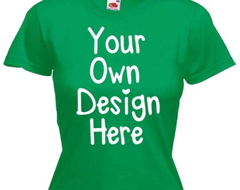 Ladies Womens Green T Shirt Personalised Text Custom Design Hen Night Party Sizes From UK size 6 - UK size 16