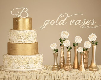 Gold Wedding, Custom Vases, Gold Wedding Vases, Gold Decor, Gold Centerpieces, Gold Bouquet, Gold Bud Vases, Blush and Gold Wedding