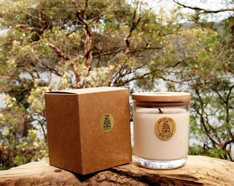 Extra Large Australian Bush Walk Scented Soy Container Candle 63hr Wooden Lid