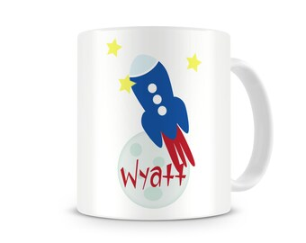 To The Moon-Rocket Personalized Mug, Custom Kids 11 oz Melamine Cup, Personalized Custom Monogrammed Kids Mug, Kids Personalized Cups, Mugs
