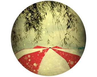 Red and White Umbrella Print, Rain Photograph, Nature, Circle, Round Image - 5x5 inch Fine Art Print - It Can't Rain All the Time