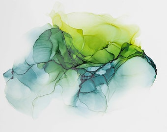 Alcohol Ink Modern Abstract in Green--Abstract Painting, Modern Art, Abstract Art, Contemporary Art