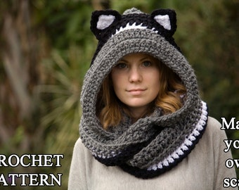 CROCHET PATTERN Cat Scarf, Hooded Scarf with Cat Ears, Cat Scoodie, Animal Scarf, Instant Download