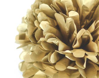Metallic gold tissue paper pompom  - party wedding decorations pom poms /golden decorations/new year/christmas/shimmer  decor /vintage gold