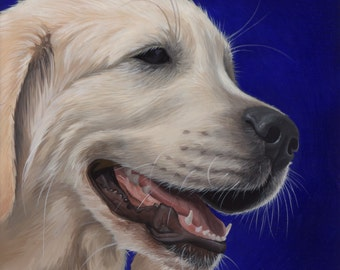 Custom Pet Portrait - painting, dog art, dog portrait, white lab painting, labrador retriever