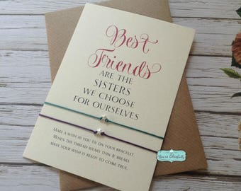Double Sterling Silver Best Friends are the Sisters We Choose Wish Bracelets, Friendship Bracelet, Best Friends Gift, Gift to Share, Card