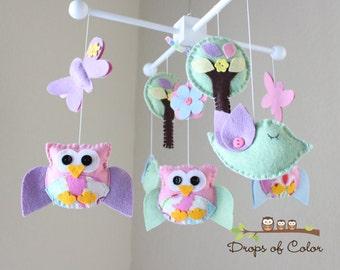 Baby Kinderbett - Baby Girl Mobile - Mobile Eule und Vögel Mobile - Kinderzimmer-Owl-Mobile