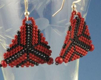 Red Triangular Web Earrings