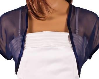 Ladies Navy Blue Chiffon Bolero Shrug Sizes 4-30