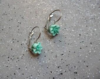 Earrings in polymer clay turquoise flower cabochon Stud Earrings