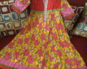Anarkali Indian Bollywood kurta Kurti Tunic Top Embroidery