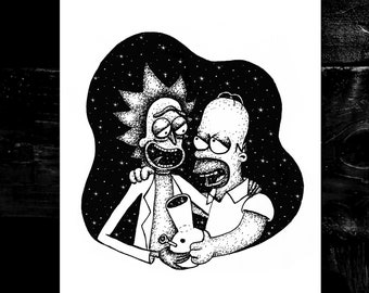 Rick & Homer A4 print - space art - trippy - wall decor - gift