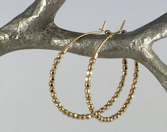 Gold Beaded Hoop Earrings, Gold Hoop Earrings, Gold Earrings, Simple Gold Earrings, 14K Gold Filled Hoop Earrings