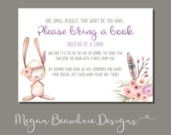 Baby Shower Book Request Card   Woodland Animal Girl